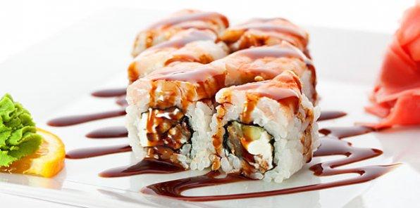 Японская еда с русским размахом! Скидка 65% на все меню в службе доставки Karamel-sushi.ru. От 21р. за суши, от 34р. за роллы