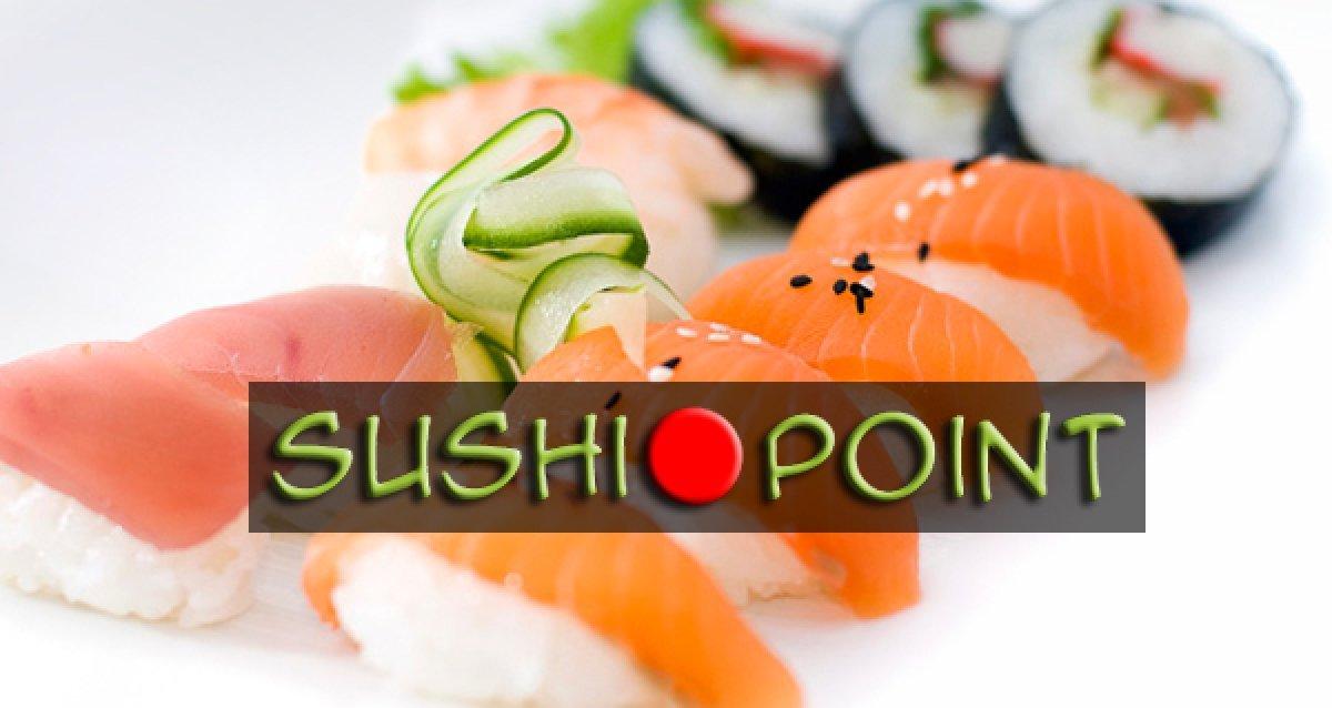 """Скидка 50% на все меню и напитки от службы доставки Sushi Point + свежий морс, ролл """"Филадельфия"""" и другие приятные подарки!"""