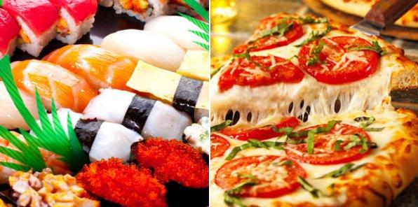 Вкуснее не найдете! Скидка 50% на горячую аппетитную пиццу и свежайшие суши и роллы с доставкой на дом