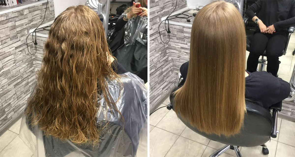 волосы до и после
